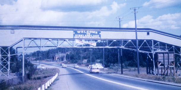 "Taken in 1961, another shot of the Teck Hughes overpass which welcomed visitors to the town until 1974. (S. J. ""Stosh"" Zima)"